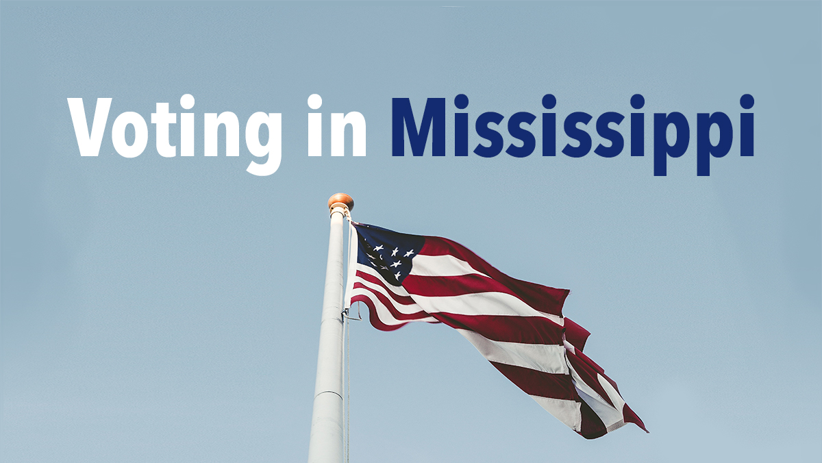 Voting in Mississippi with flag